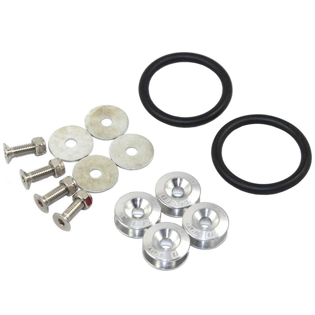 Silver Trunk Fender and Hatch Lids O-Rings x 2 Assembly DIY Altopcar Finish JDM Bumper Quick Release Fasteners Kit For Car Bumpers