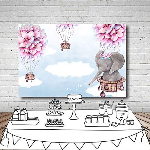 (Fanghui 7x5FT Elephant Hot Air Balloon Up Up and Away Photography Backdrop Pink Flower Baby Shower Birthday Party Banner Decoration Supplies Photo Booth Studio Props Vinyl)