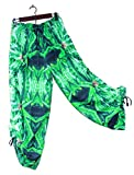 Hawaiian Floral Harem Pants Blue Widow Wedding Resort Beachwear L/XL