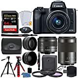 Canon EOS M50 Mirrorless Digital Camera + EF-M 15-45mm f/3.5-6.3 is STM & EF-M 55-200mm f/4.5-6.3 is STM Lens + Wide Angle & Telephoto Lens + 64GB Memory Card + 2X Tripods + Gadget Bag – Full Bundle