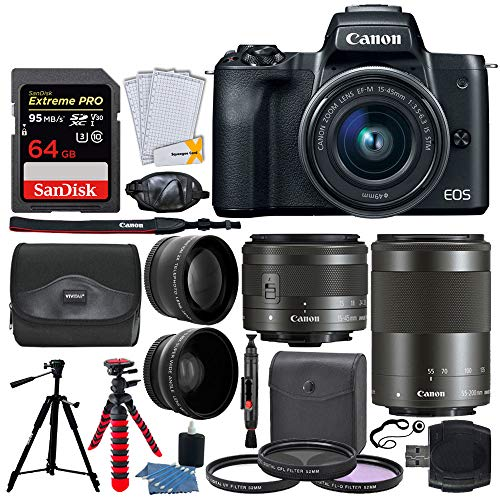 Canon EOS M50 Mirrorless Digital Camera + EF-M 15-45mm f/3.5-6.3 is STM & EF-M 55-200mm f/4.5-6.3 is STM Lens + Wide Angle & Telephoto Lens + 64GB Memory Card + 2X Tripods + Gadget Bag