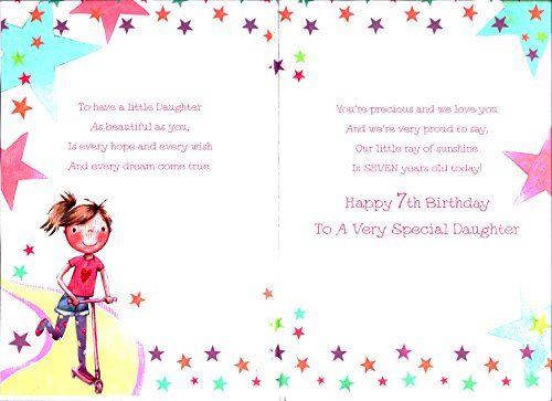 Daughter 7th Seven 7 Happy Birthday Girl Scooter Design Card With – Daughter Birthday Verses for Cards