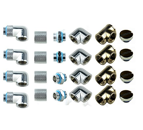 Water Cooling Fittings (BXQINLENX 24 PCS Silver Chrome G1/4