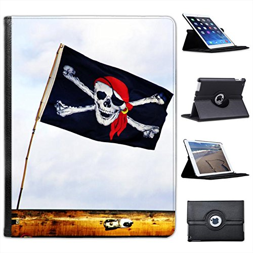 Jolly Roger Pirate Flag Flying High In Wind For Apple iPad 2, 3 & 4 Faux Leather Folio Presenter Case Cover Bag with Stand - Flying Roger Jolly