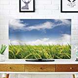 iPrint LCD TV dust Cover,Plant,Asian Cultivated Farm Paddy Rice Field Agriculture Food Eastern Countryside Decorative,Sky Blue Apple Green,3D Print Design Compatible 32'' TV