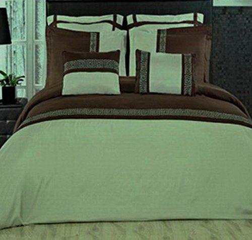 7pc Modern Brown Green Lightweight Bedding Duvet Cover