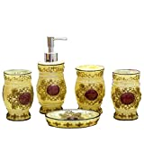 JynXos Country Style Resin 5PC Bathroom Accessories Set Soap Dispenser/Toothbrush Holder/Tumbler/Soap Dish : Retro Jacquard Design