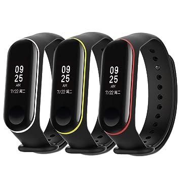 BRone Reloj Mi Band 3 Correas,3 Piezas Silicona Reloj de Recambio Brazalete Extensibles Coloridos para reemplazo XIAOMI Recambio para Pulsera Inteligente: ...