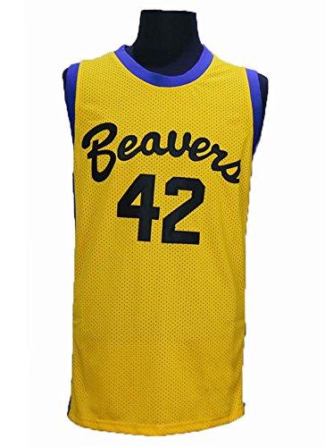 Scott Howard 42 TEEN WOLF Beavers MOVIE MICHAEL J FOX Werewolf Yellow Basketball Jersey Gold S to XXXL