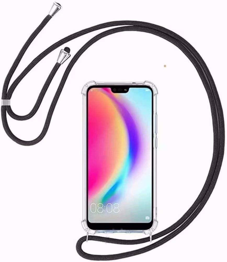 BestST Funda Transparente con Cordón para Xiaomi Mi Mix 2S [Moda y Practico][ Anti-Choque][Anti-rasguños] Ultrafina Suave TPU Carcasa de movil con Colgante/Cadena,Negro