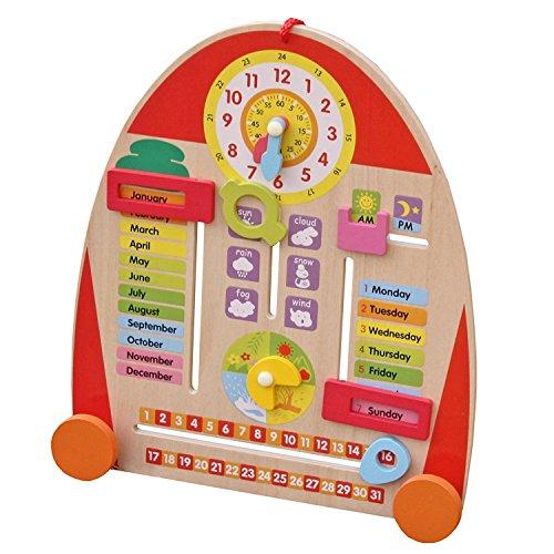 Timy Wooden Calendar Board Teaching - Clock Teaching Time