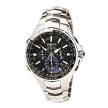 Seiko SSG009 Men's Chronograph Stainless Steel Silver Bracelet Band Black Dial Watch