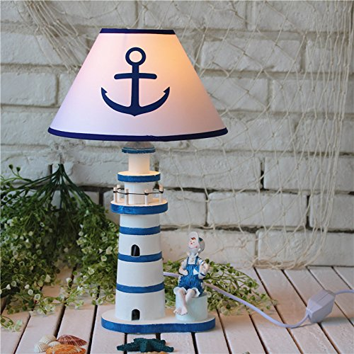 JY$ZB Mediterranean style bedroom study room living room house decoration table lamp children bedside lamp large wooden lighthouse 45cm , ()