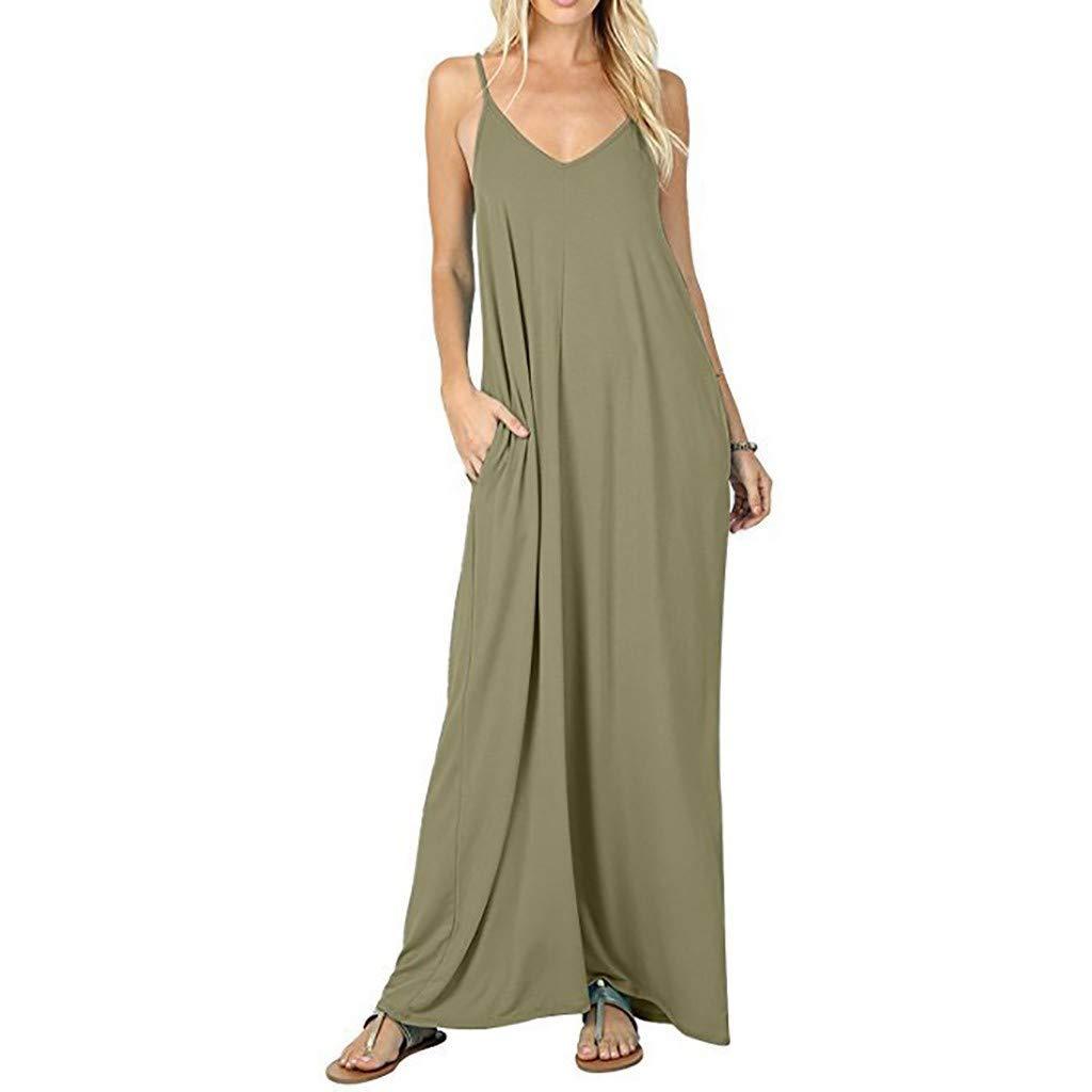 Vestidos Verano Mujer SUNNSEAN Faldas Color Liso Casual ...