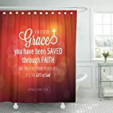 Breezat Shower Curtain Verse By Grace You Have Been Saved Through Faith From Ephesians Bible Quote Bokeh Waterproof Polyester Fabric 72 x 78 Inches Set with Hooks