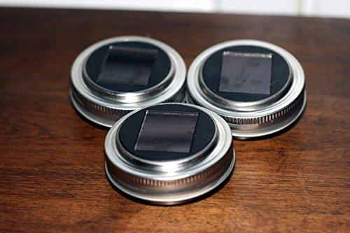 (SET of THREE Solar Lids For Mason Jar, Mason Jar Solar Lanterns, Mason Jar Lights Luminaries Garden )