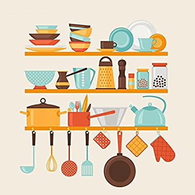 Wallmonkeys WM354631 Card with Kitchen Shelves and Cooking Utensils in Retro Style Peel and Stick Wall Decals from Wallmonkeys