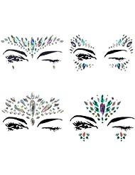 4 Sets Mermaid Face Gems Rhinestone Festival Jewels Crystals Temporary Tattoos