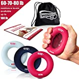 3-in-1 Hand Strengthener Grip Rings Round-Comfortable To Use-Increase Your Hand Finger Wrist Forearm Grip Strength For Athletes Rock Climbing Musicians Stress Relief & Injury Rehabilitation(60-80LB)