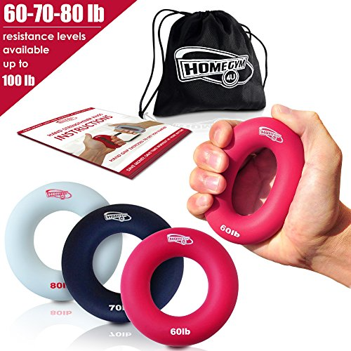 r and Hand Strengthener - Hand Grip Strengthener and Grip Rings with 60-80lb Resistance - This Forearm Grip Workout is The Best Hand Exerciser Grip Strengthener for Carpal Tunnel ()