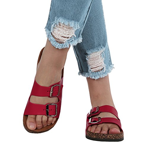 (Womens Double Buckle Strap Footed Sandals Slip On Platform Cork Sole Slide Adjustable Flats)