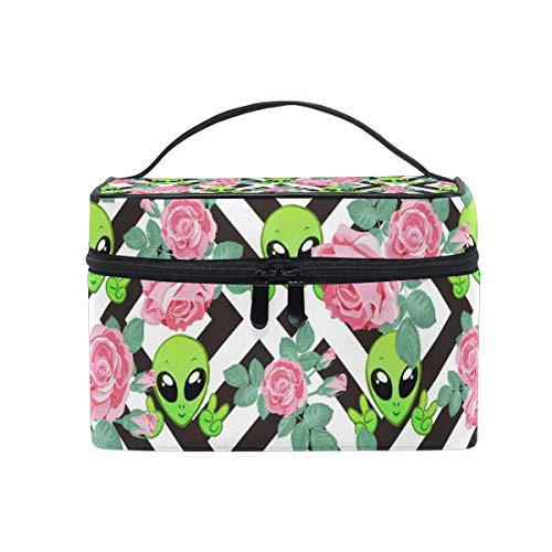 Portable Travel Makeup Bag Alien Cute Cosmetic Case Toiletry Organizer for Women