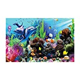 YOKOU Aquarium Background Sticker Wallpaper 23.6''x15.7'' Fish Tank Backdrop Static Cling, Marine Life