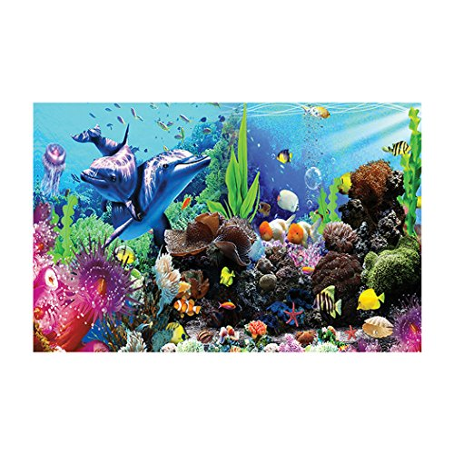 (Aquarium Background Underwater World Coral Reef Dolphin Fish Easy to Apply and Remove Fish Tank Wallpaper Sticker Background Decoration 23.6