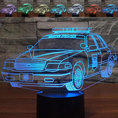 Police Car Lamp - Abstractive 3D Police Car Optical Illusion Night Light 7 Color Change Touch Switch USB Powered LED Halloween Decoration Desk Lamp for Holiday Birthday Gift