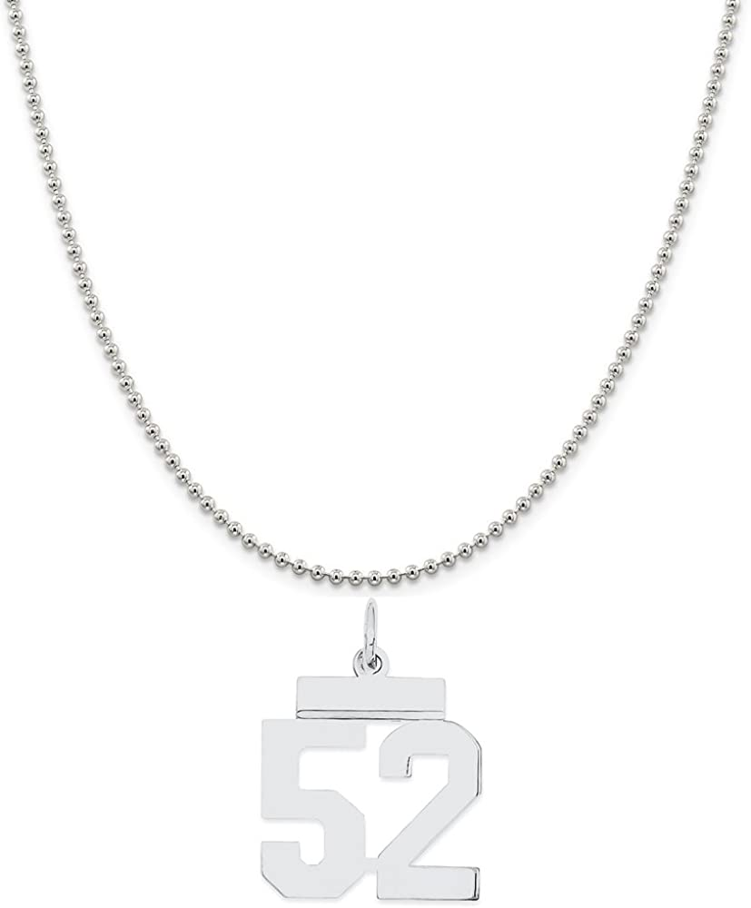 Snake or Ball Chain Necklace Sterling Silver Small Polished Number 52 on a Sterling Silver Cable
