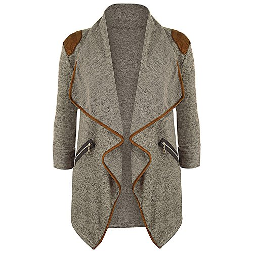 JESPER Womens Winter Knitted Casual Long Sleeve Waterfall Collar Cardigan Jacket Outwear Khaki