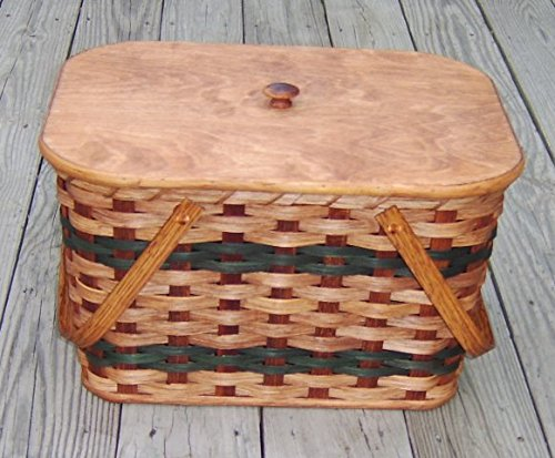 Amish Handmade Medium Picnic Basket w/Inside Tray, Lid, and Two Swinging Handles IN GREEN
