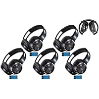 5 Pack of Two Channel Fold Adjustable Universal Rear Entertainment System Infrared Headphones 5 Additional 48 3.5mm Auxiliary Cords Wireless IR DVD Player Head Phones Car TV Video Audio Listening
