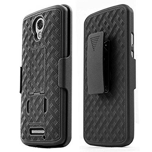 (Motorola Droid Turbo 2 Holster Case, REDShield [Black] Supreme Protection Slim Matte Rubberized Hard Plastic Case Cover with Kickstand & Swivel Belt Clip)
