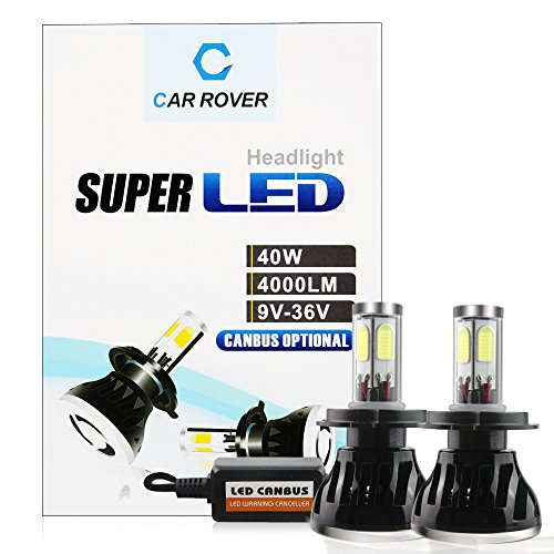 CAR ROVER H4 9003 40W 8,000LM(4000LM Each Bulb) 6,000K CREE LED Headlight Conversion Kit Super Bright Cool white Lamp Light Bulbs with No Error CanBus Technology