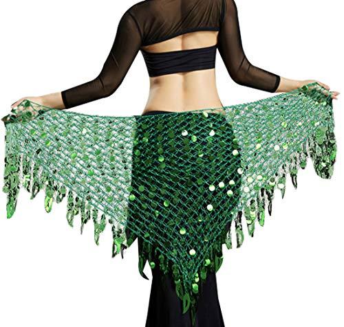 Belly Dance Hip Skirt Scarf Wrap Belt Triangle Skirt Belly Dancing Outfit Halloween Costume Accessories for Women Dark Green (Belly Scarf Green Dance Hip)