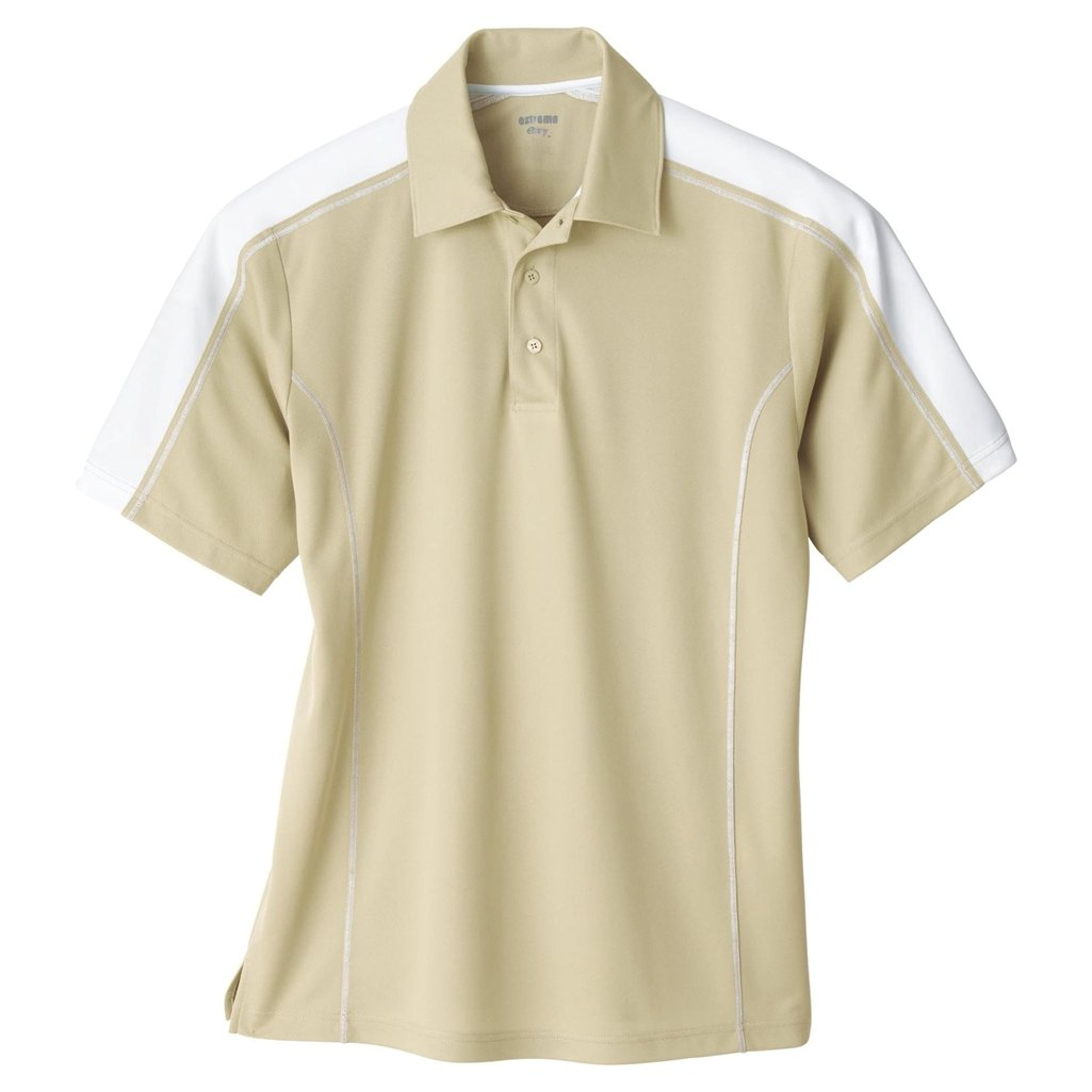 Ash City Mens Eperformance Extreme Pique Color Block Polo Shirt (Medium, Sand/White) by Ash City Apparel