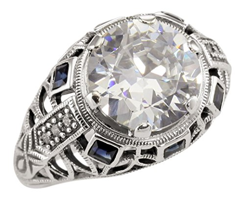 Art Deco Style Sterling Silver 3.5ct Cubic Zirconia and Sapphire Ring