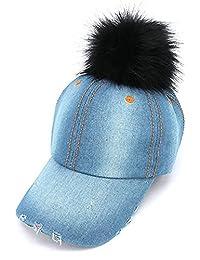 2Chique Boutique Women's Light Blue Denim Pom Pom Hat