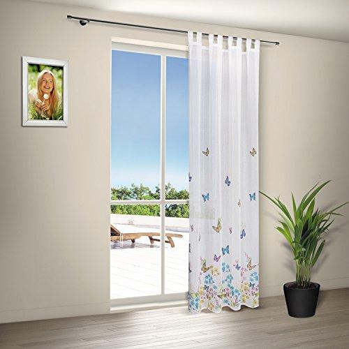 Schlaufenschal / Vorhangschal / Gardine mit Schlaufen SCHMETTERLING / weiß mit bunten Schmetterlingen bedruckt / Maße: 140x235cm