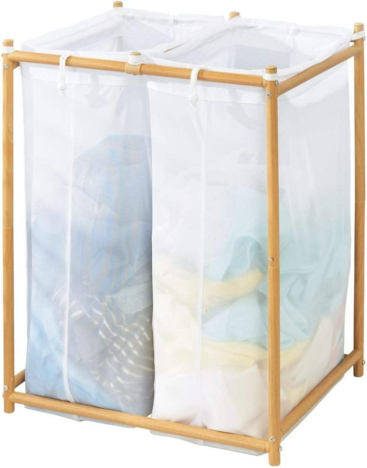 mDesign Laundry Hamper Organizer/Sorter with Metal Stand and 2 Removable Large Mesh Bags - Portable - Double Hamper Design - White/Natural