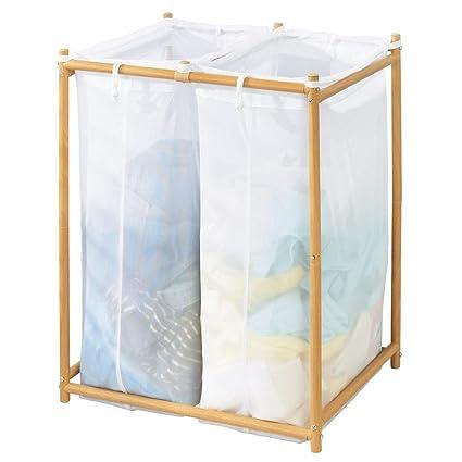 mDesign Cesto para ropa sucia para lavadero - Con 2 bolsas ...