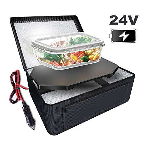 Triangle Power Personal Portable Oven, Electric Slow Cooker For Food,Mini Oven For Meals Reheat,Food Warmer with Lunch Bag For Car(24V) (Microwave For Vehicle)