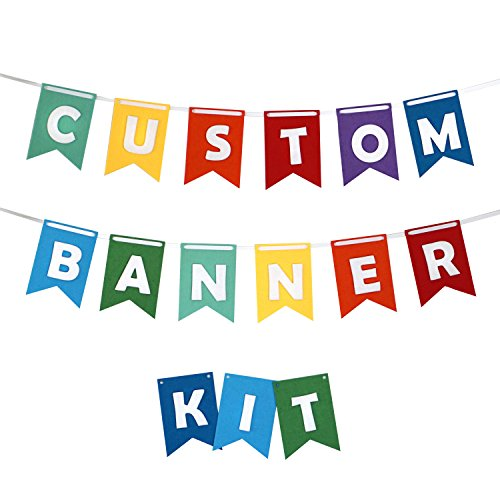 Premium Felt Custom Banner Kit Bunting & Letters Laser Cut Customizable Length - Rainbow ()