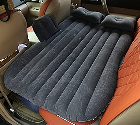 ETTG Auto Car Inflatable Air Mattress Bed for Back Seat of Cars SUV's and Mid-size Trucks Outdoor Travel (Black)