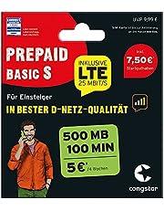 congstar Prepaid Basic S-pakket [SIM, Micro-SIM en Nano-SIM] – het prepaid-pakket voor beginners in goede D-netkwaliteit.