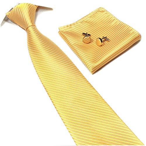 Men Fashion Style Gold Yellow Inspired Ties Summer Solids Necktie Birthday Gift -