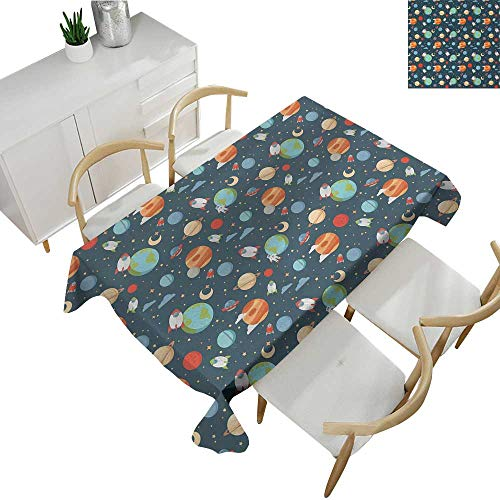Boys,Party Table Cloth Cartoon Style Astrological Concepts Earth Mars Saturn Neptune Astronaut and Craft Table Cover for Rectangular Table Multicolor 70