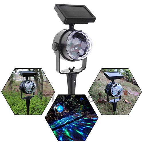 (Solar Carnival Spotlight, Rotatable Projection Light LED, Colour Changing Stake Projection Lamp for Chrimas Garden Movin Lawn Pond Novelty Lighting)