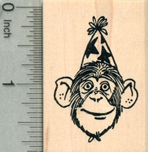 (Party Chimpanzee Rubber Stamp, Chimp in Birthday Hat)